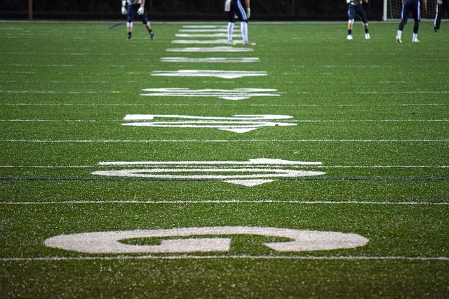 Goal line on football field
