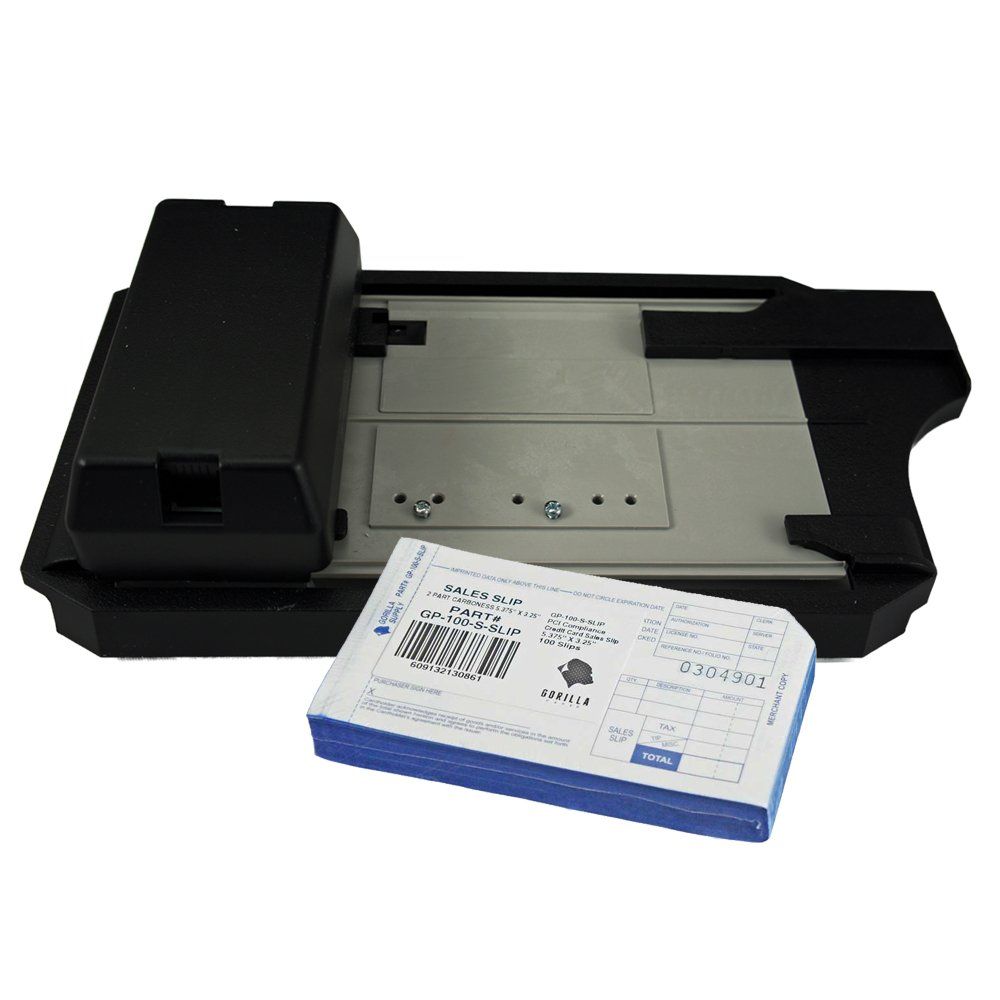 photo of manual credit card imprinter